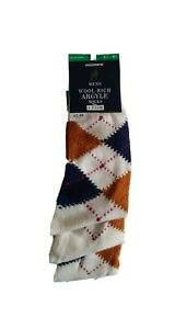 Men's Wool Rich Argyle Socks Ex Woolworths 3 PAIRS sizes 6.5-8.5 and 9-11