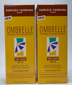 Lot of 2 L'Oreal Ombrelle Sunless Tanning Cream for Faces,  SPF15, 2 fl. oz.