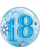 Qualatex Bubbles Happy 18th Birthday Blue Sparkle Bubble Balloon