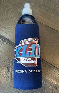 NFL Super Bowl XLII 42 2008 Patriots Giants Reusable Water Bottle Cooler Koozie