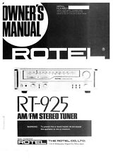 Rotel RT-925 Tuner Owners Instruction Manual