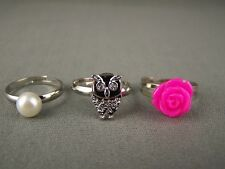 Pink bird hoot OWL faux pearl Rose set of 3 cocktail ring adjustable