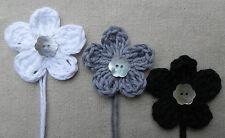x6 Crochet Flowers WHITE,GREY& BLACK Appliqués Mother Pearl button embellishment