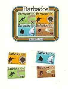 BARBADOS 1984 OLYMPICS SOUVENIR SHEET & SET SCOTT #'s 623-626a MNH FREE SHIPPING