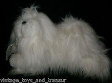 "18"" VINTAGE STERLING WHITE PUPPY DOG STUFFED ANIMAL PLUSH TOY GOLD BOW BIG FUZZY"