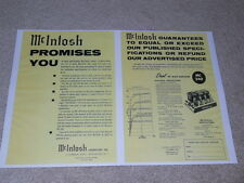 McIntosh MC 240 Tube Amplifier Ad, 2 pgs, 1958, Specs, Article, Beautiful!