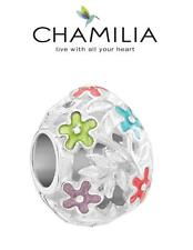 Genuine CHAMILIA 925 sterling silver & enamel FILIGREE FLOWER EGG charm bead