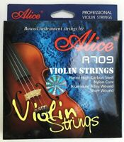 Alice A709 Violin Strings - E-1st Steel Core A-2nd D-3rd G-4th Nylon Core