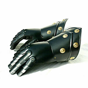 Medieval Knight Gauntlets Functional Armor Gloves Leather Steel SCA LARP