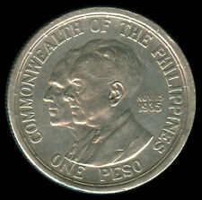 1936 US Commonwealth Of The Philippines QUEZON-MURPHY 1 Peso Coin #6