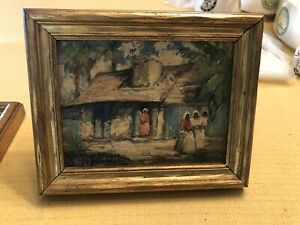 1934 COLETTE POPE HELDNER Oil Painting New Orleans Negro Shacks Marais Street