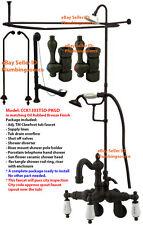 "Adj. 3-3/8"" to 9""Tub Mount Clawfoot Tub Faucet Shower Riser Enclosure Kit Bronze"