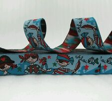"One Metre Blue Pirates Jacquard Ribbon Trim  5/8"" 16mm 100% Polyester"