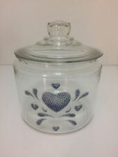 corelle country blue heart glass cookie jar canister kitchen