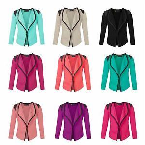 Girls Long Sleeve Kids Cardigan Top Quilted Shoulder Open Front Jacket  3-14 Y