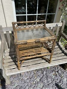 vintage retro Bamboo Cane Rectangular Coffee Side Table With Glass Top