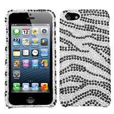 For iPhone 5 5S SE Crystal Diamond BLING Hard Case Snap on Phone Cover Zebra