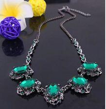 Cristales Diamante Estrás Verde Brillante Aspecto Vintage Tono Plata Collar