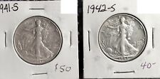 WOW! 2 COIN LOT SILVER WALKING LIBERTY HALF DOLLARS 1941 S & 1942 S 50c