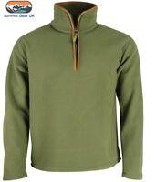 Mens Outdoor Country Green Thermal Fleece Top Pullover Jumper HALF Zip Neck