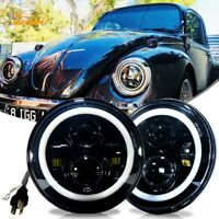 DOT 7'' Round Black LED Headlights Hi/Lo Beam DRL for Classic Mini Austin Rover