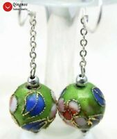 12mm Round Green Cloisonne Flower Beads Dangle Hook Earrings for Women-ear213