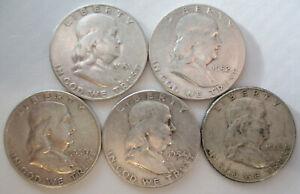 (5) Franklin Half Dollar 90% Silver-AVERAGE CIRCUALATION OR BETTER