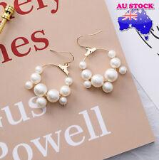 18k Gold Plated Big Pearls Tassel Hook Dangly Earrings