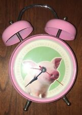 Pink Pig Alarm Clock Childrens Pink Silver Working
