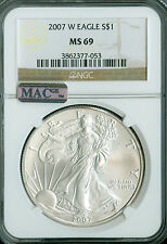 2007-W SILVER EAGLE NGC MAC MS69 PQ 2ND FINEST GRADE SPOTLESS  .