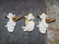 """VIntage Porcelain White and Gold Angels with Instruments Christmas Ornaments 3"""""""