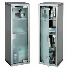 Large Wall Mountable Medicine Cabinet Cupboard First Aid Lockable Glass Door NEW