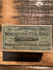 Rare Winchester 1873 Ammo Box 2pc! 32-20 Solid Head 1880's - Empty With Gift