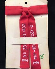 Northampton PA Diamond Jubilee 1901 - 1976 Red Clip on Bow Tie Still on Card