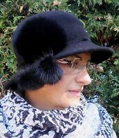 da donna Cappello di lana elegante avvolgibile PIEGHEVOLE berretto inverno