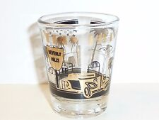 BEVERLY HILLS SOUVENIR SHOT GLASS NEW w/ RODEO DRIVE SIGN AND BH SHIELD