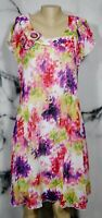 KARIN STEVENS White Multicolor Floral Dress 12 Pleated Bodice Cap Sleeves Lined