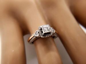Silver 10k Rose Gold Princess Round Diamond Ring 0.20 CT
