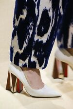 $1390 MARNI Sculpted Heel White leather Pump Pointy Toe Shoe 40- 9.5