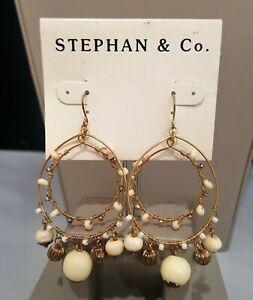 STEPHAN & CO BOHO DARK GOLD TONE  BEIGE  BEADED HOOK EARRINGS NWT