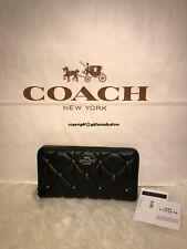 NIP COACH F39099 $295 Diamond StuddedAccording Zip Leather Wallet-IM/BLK