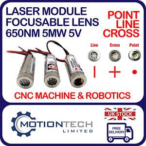 Laser Module Red Cross Hair Line Point Dot Diode Focusable Lens 650nm 5mW 5v UK