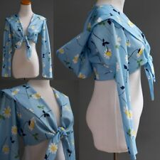 Vtg 70s Cropped Hoodie Jacket Blue & Yellow Daisy Floral Mod Hippie Festival S