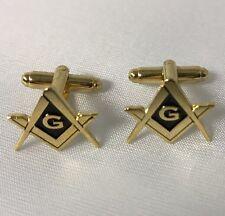 Freemason Masonic Square & Compass Cufflinks In Gold Tone