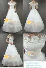 White Rose Wedding Dress Bridal Gown New (Size: XS)
