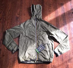 New Mens Killtec Olive Green Packable Fullzip Light Rain Jacket Size Small