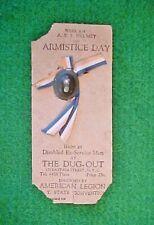 WWI ARMISTICE DAY A.E.F. HELMET & RIBBON PIN ON CARD - AMERICAN LEGION