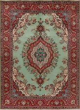 8x11 Pistachio Green Medallion Floral Kashmar Area Rug Hand-Knotted Wool Carpet