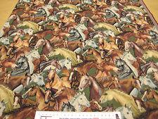 1 m Möbelstoff Polsterstoff Gobelin PFERDE Herde reiten Pony Polster Tasche NEU