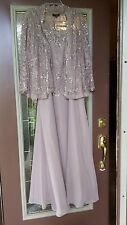 24W Plus Ignite Evenings MOB Long Taupe Pink Dress Jacket Sequins Lace Chiffon